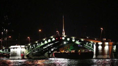 opening drawbridge at night in St. Petersburg Russ Stock Video Footage