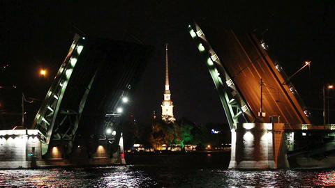 ship under open drawbridge at night in St. Petersb Stock Video Footage
