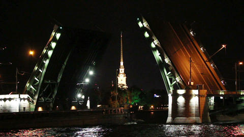 ship under open drawbridge at night in St. Petersb Footage