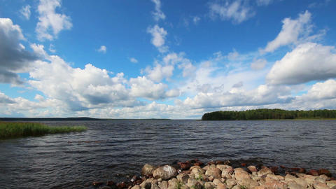 landscape with Vuoksa lake in Russia - timelapse Stock Video Footage