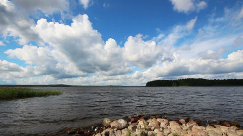 landscape with Vuoksa lake in Russia - timelapse Footage