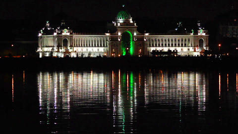 Palace of farmers at night in Kazan Russia Stock Video Footage