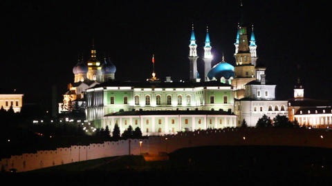 kazan kremlin and kul sharif mosque at night in ru Stock Video Footage
