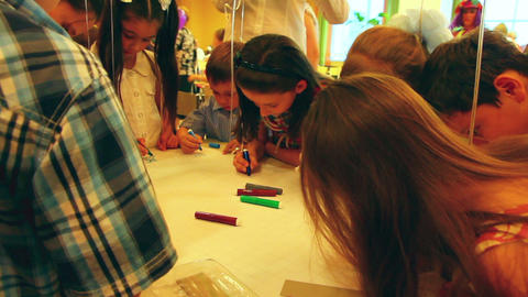 children paint markers Stock Video Footage