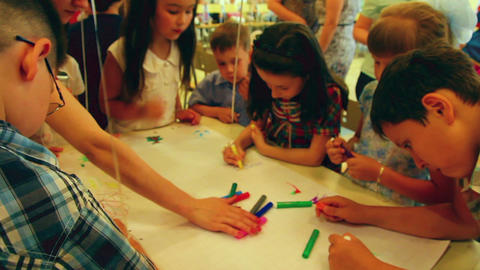 children paint markers Footage