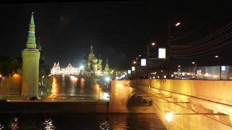 Moscow Kremlin night landscape - timelapse Stock Video Footage