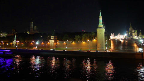 Moscow Kremlin river night landscape with ship - t Stock Video Footage