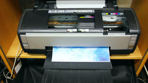 Inkjet printer color photo prints - timelapse Footage