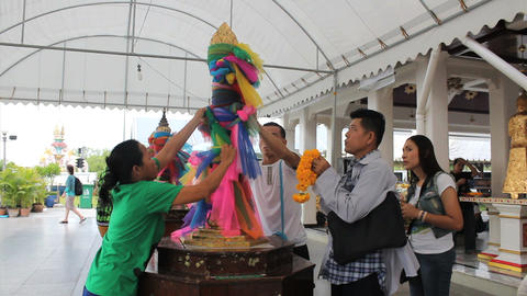 Colorful Ribbons At Buddhist Temple Stock Video Footage