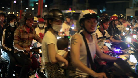 Night Traffic in Ho Chi Minh City, Vietnam Footage