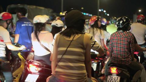 Night Traffic in Ho Chi Minh City, Vietnam Stock Video Footage