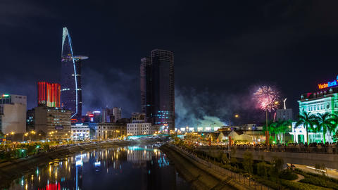 4k - FIREWORKS VIETNAM INDEPENDENCE DAY Stock Video Footage