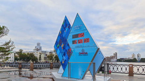 Paralympic Clock Games in Sochi 2014. Fixed distor Stock Video Footage