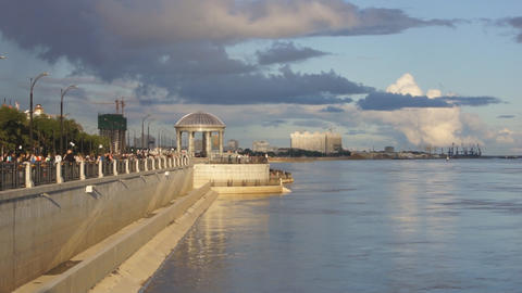 City of Blagoveshchensk Embankment 08 Stock Video Footage
