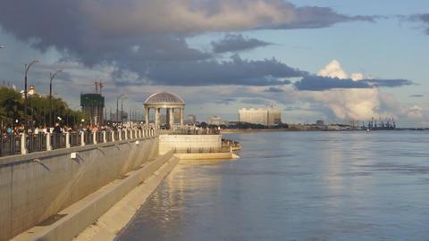 City of Blagoveshchensk Embankment 08 Stock Video Footage