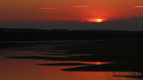 beautiful orange sunset with waved river sand beac Stock Video Footage