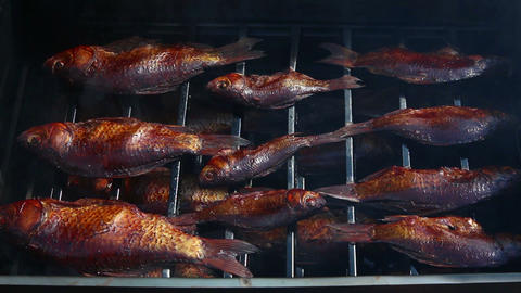 smoked fish in smoking shed Stock Video Footage
