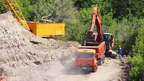 loader dump tipper loads of sand - timelapse Stock Video Footage