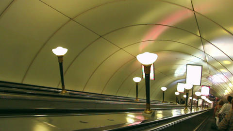 escalator in subway station in St. Petersburg Russ Stock Video Footage