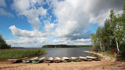 landscape with boats on lake Stock Video Footage