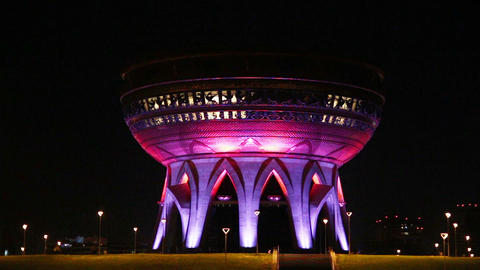 new palace wedding illuminated at night in kazan r Stock Video Footage