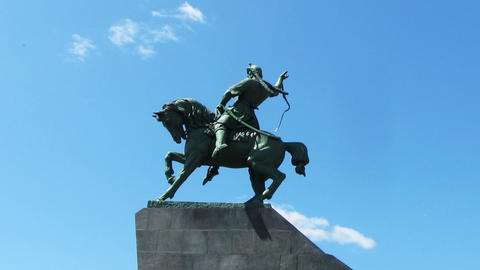 salavat yulaev monument in ufa russia - timelapse Stock Video Footage