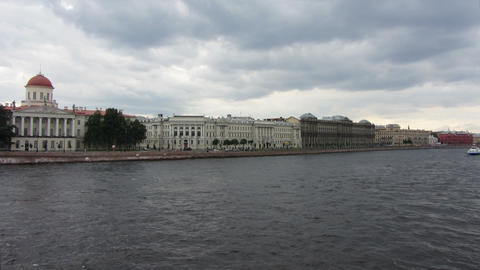 timelapse with boats on Neva river in St. Petersbu Stock Video Footage