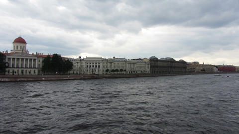timelapse with boats on Neva river in St. Petersbu Footage