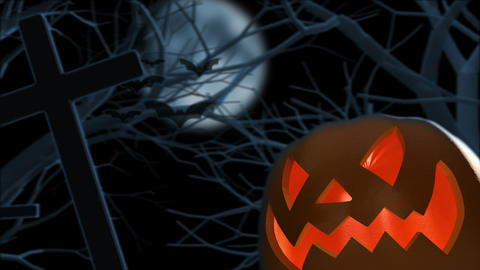 Halloween Pumpkin On Graveyard stock footage