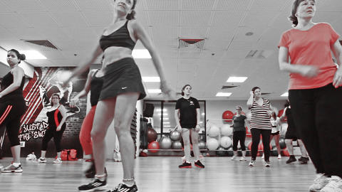women losing weight exercising and dancing during Stock Video Footage