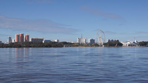 View of Heihe city from the Amur river 02 Stock Video Footage