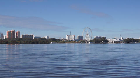 View of Heihe city from the Amur river 02 Footage