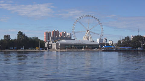 View of Heihe city from the Amur river 04 Footage