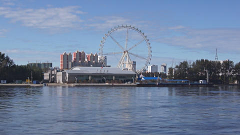 View of Heihe city from the Amur river 04 Stock Video Footage