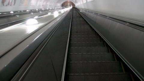 Descend on the escalator HD Stock Video Footage