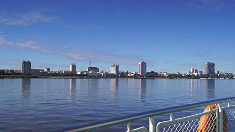 View of Heihe city from the Amur river 05 Stock Video Footage
