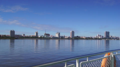 View of Heihe city from the Amur river 05 Footage