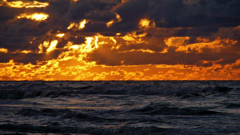View at the waves during sunset Stock Video Footage