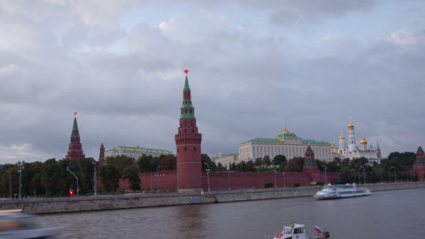 Walk along Kremlin wall sunset hyperlapse 4K Stock Video Footage