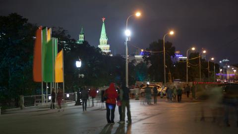 Manezhnaya street night timelapse Stock Video Footage