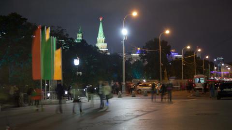 Manezhnaya street night timelapse Footage