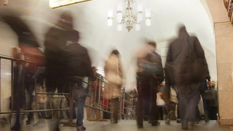 Subway station crowd timelapse Stock Video Footage