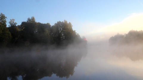 fog and sun on the river Stock Video Footage