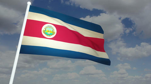 Flag Costa Rica 02 Stock Video Footage