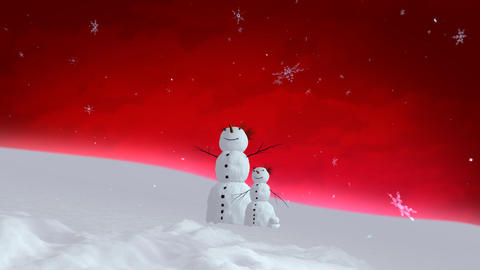 snowman and son red sky wide Stock Video Footage