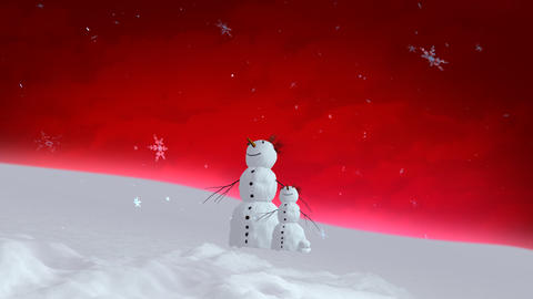 snowman and son red sky wide Animation