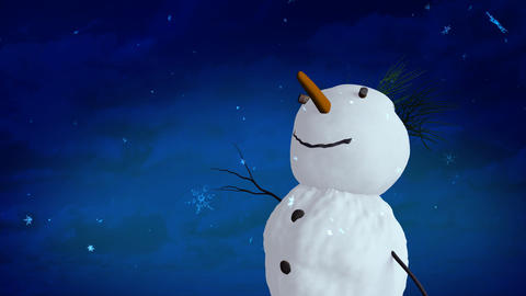 snowman blue sky closeup Stock Video Footage