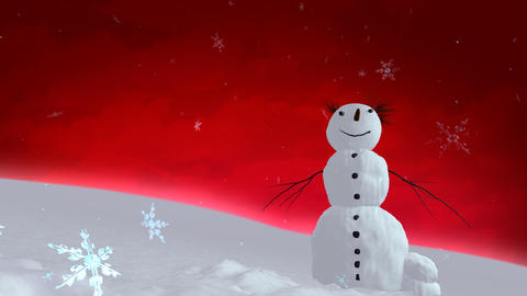 snowman red sky Animation