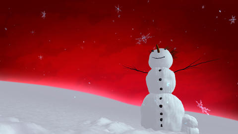 snowman red sky Stock Video Footage