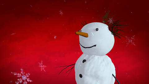 snowman red sky closeup Stock Video Footage